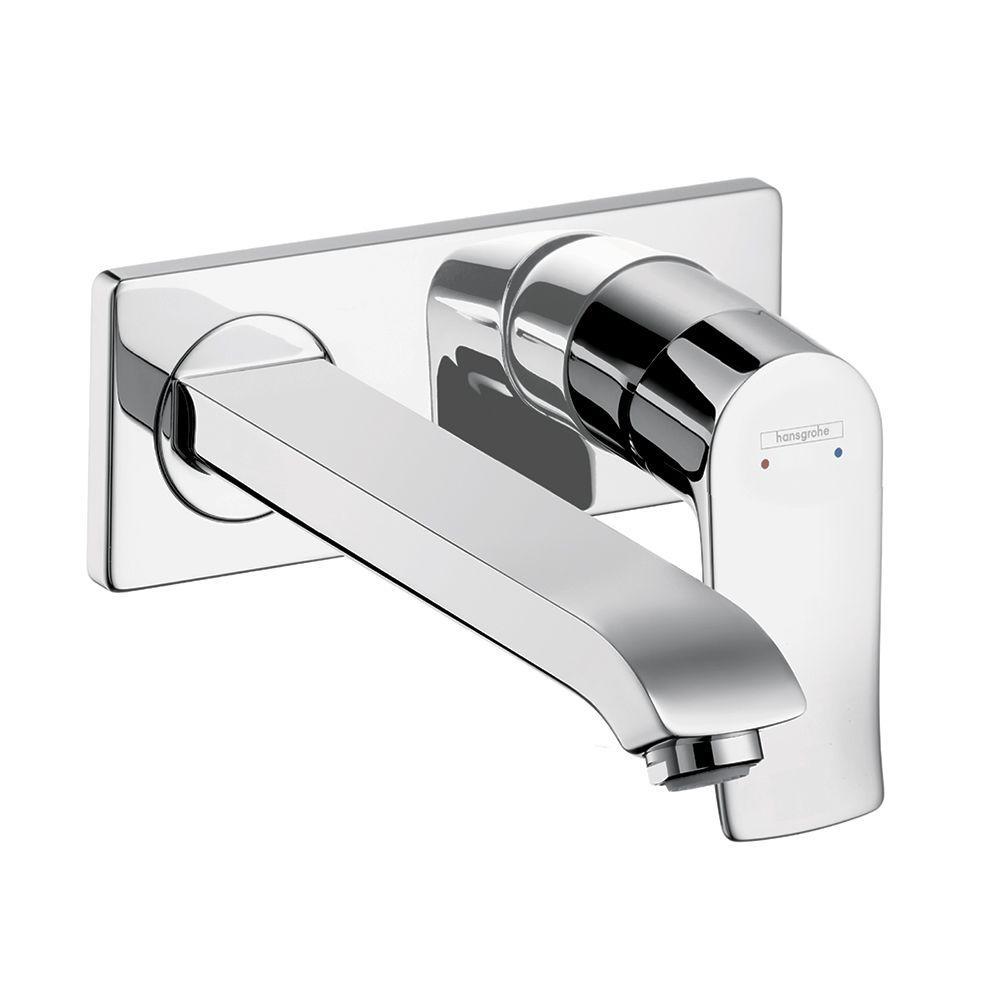 Hansgrohe Metris E Single-Handle Wall Mount Bathroom Faucet in Chrome