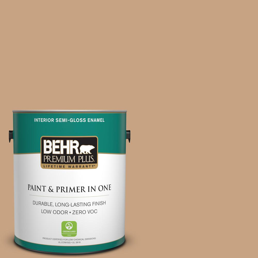 BEHR Premium Plus 1-gal. #S260-4 Pelican Tan Semi-Gloss Enamel Interior Paint