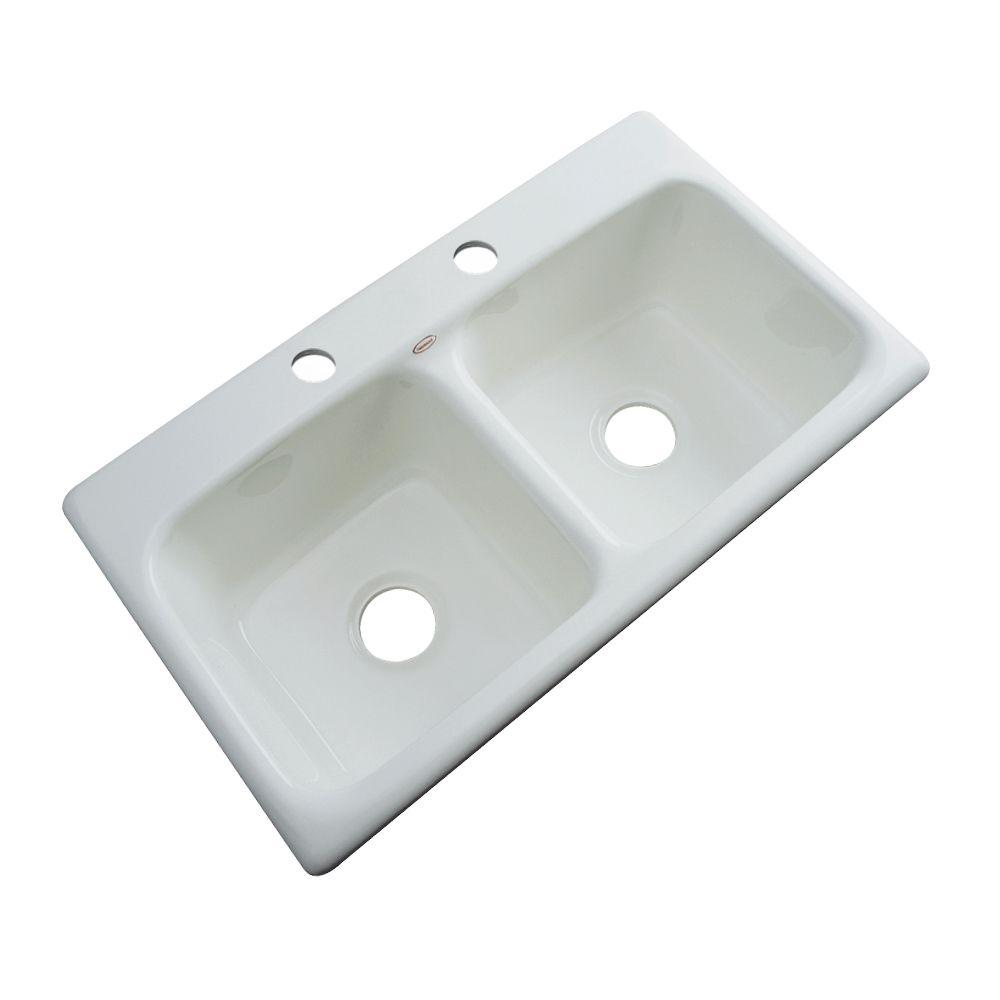 Brighton Drop-in Acrylic 33x19x9 in. 2-Hole Double Bowl Kitchen Sink in