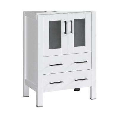 Bosconi 22.9 in. Single Vanity Cabinet Only in White Brushed Nickel Hardware