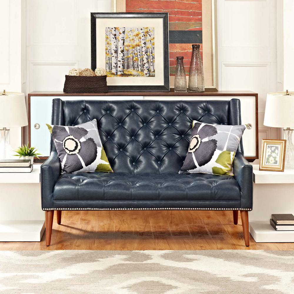 Peruse Blue Upholstered Vinyl Loveseat