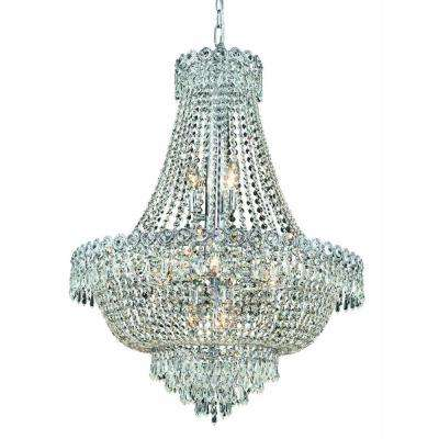 12-Light Chrome Chandelier with Clear Crystal