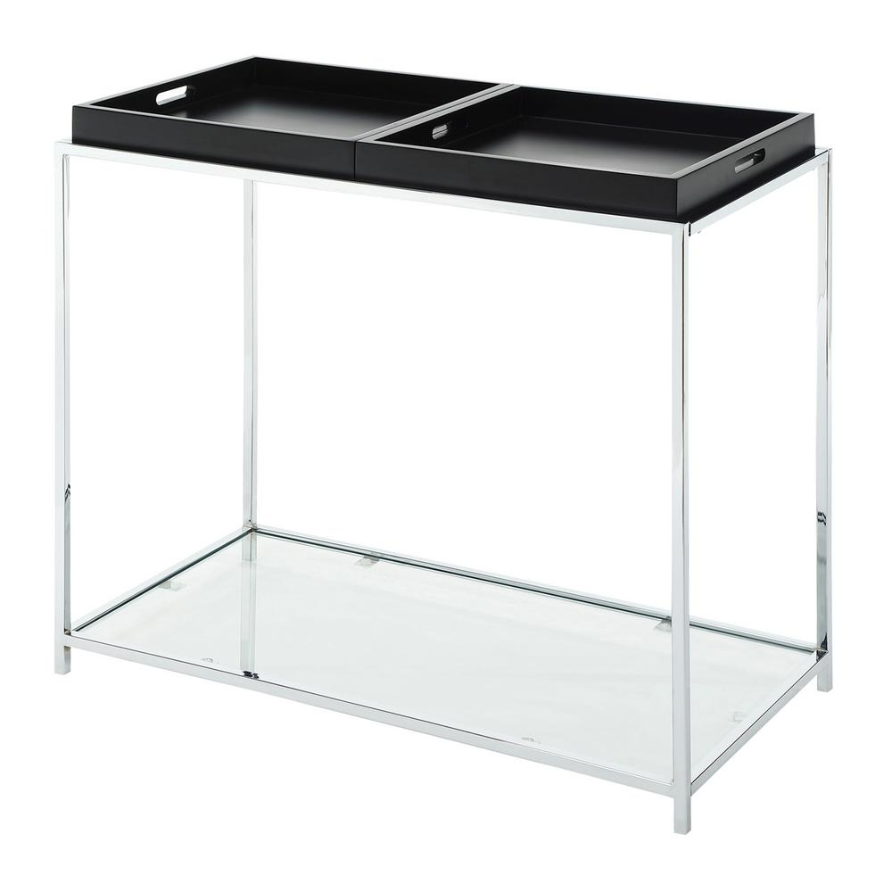 Convenience Concepts Palm Beach Glass And Chrome Console Table