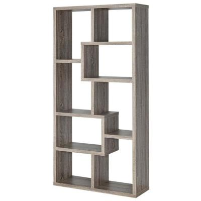 70.75 in. Gray Wood 8-shelf Accent Bookcase