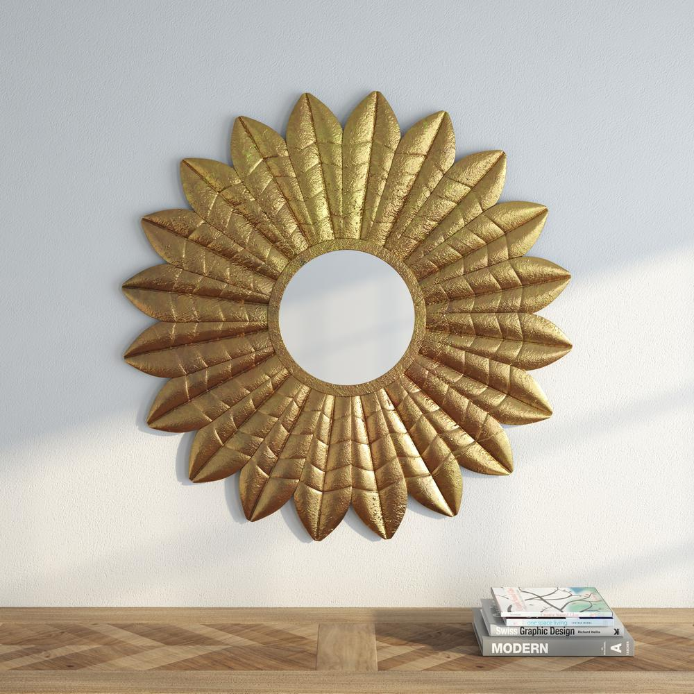Deco Leaf 36 in. H x 36 in. W Round Framed