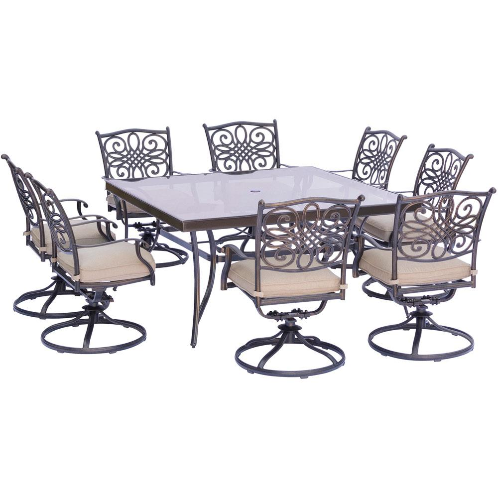 Hanover Traditions 9 Piece Aluminum Outdoor Dining Set With Square