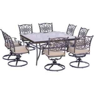 Hanover Traditions 9-Piece Aluminum Outdoor Dining Set with Square Glass-Top Table and Swivel Chairs with... by Hanover