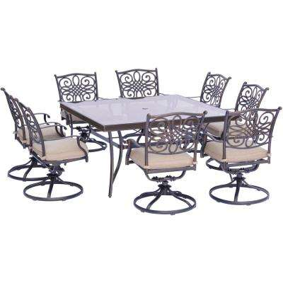 Traditions 9-Piece Aluminum Outdoor Dining Set with Square Glass-Top Table and Swivel Chairs with Natural Oat Cushions