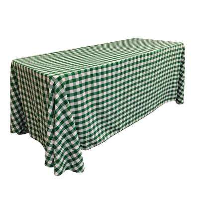 """90 in. x 132 in. White and Hunter Green Polyester Gingham Checkered Rectangular Tablecloth"""