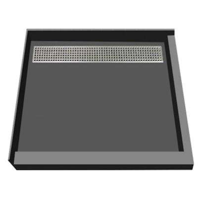 48 in. x 48 in. Double Threshold Shower Base with Back Drain in Gray and Polished Chrome Trench Grate