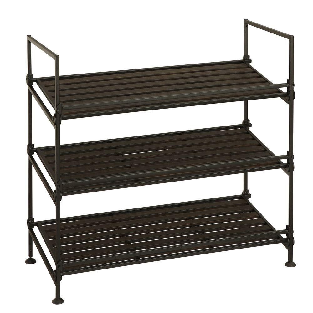 black shoe rack Neu Home 3 Tier Stackable Shoe Rack in Black 97223W 1   The Home Depot black shoe rack