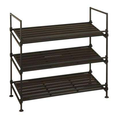 3-Tier Stackable Shoe Rack in Black