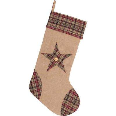 20 in. Cotton/Jute Clement Natural Tan Rustic Christmas Decor Star Stocking