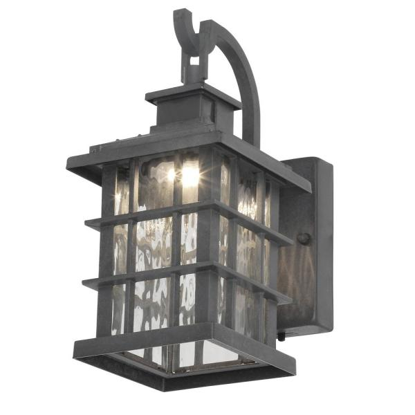 Home Decorators Collection Summit Ridge Collection Zinc Motion Sensor Outdoor Integrated Led Wall Lantern Sconce Cqh1691ls 2 The Home Depot