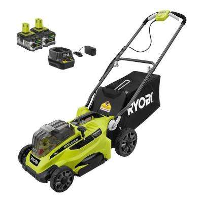 16 in  ONE+ 18-Volt Lithium-Ion Cordless Battery Walk Behind Push Lawn  Mower Two 4 0Ah Batteries/Charger Included