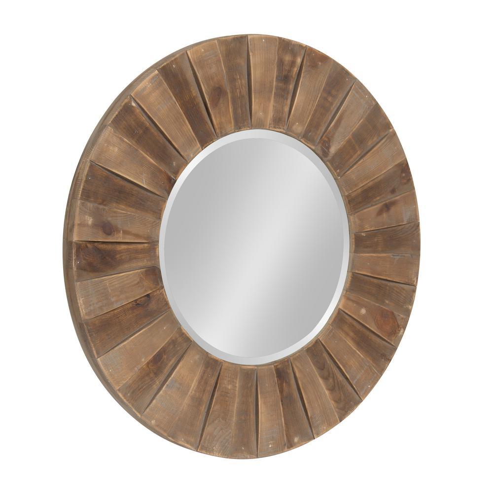 "Monteiro Large Round Wall Mirror 30"" diameter Rustic Brown"