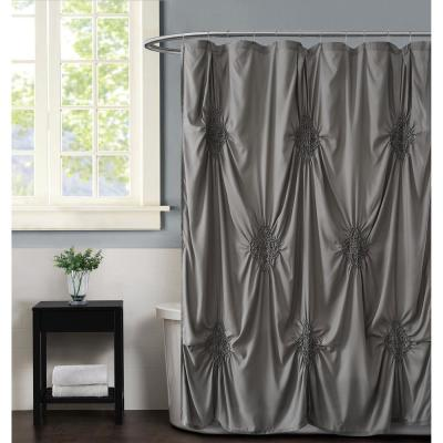 Georgia Rouched 72 in. x 72 in. Grey Shower Curtain