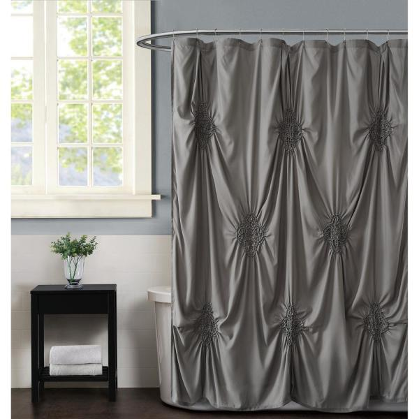 Christian Siriano Georgia Rouched 72 in. x 72 in. Grey Shower Curtain