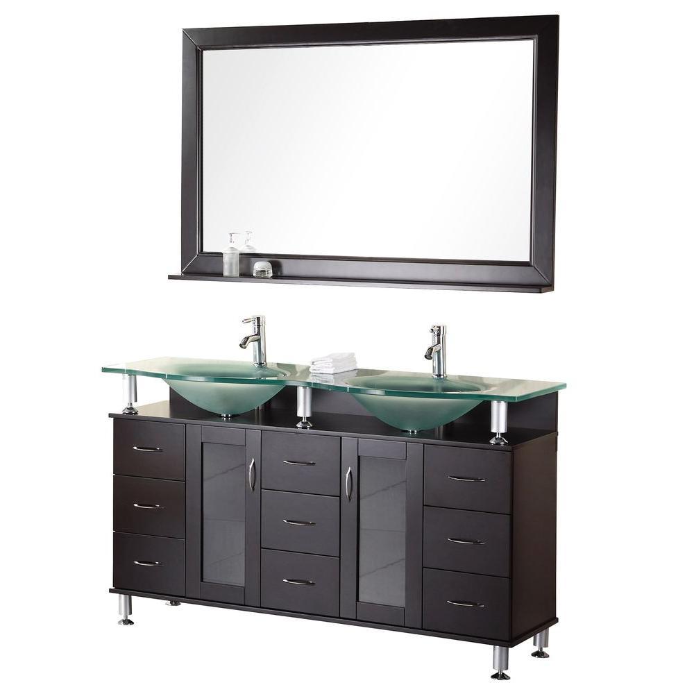 Design Element Redondo 60 in. W x 22 in. D Vanity in Espresso with Glass Vanity Top and Mirror in Aqua