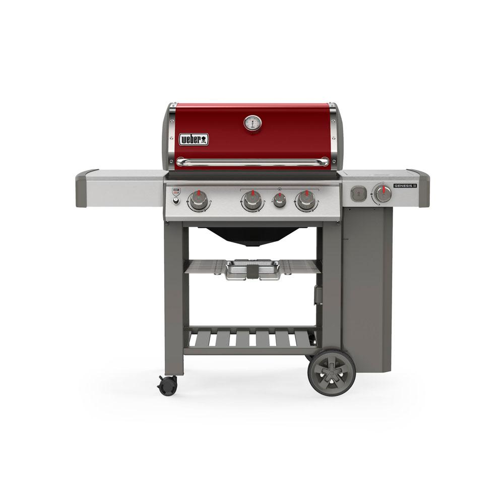 Weber Genesis II E-330 3-Burner Propane Gas Grill in Crimson with Built-In Thermometer and Side Burner