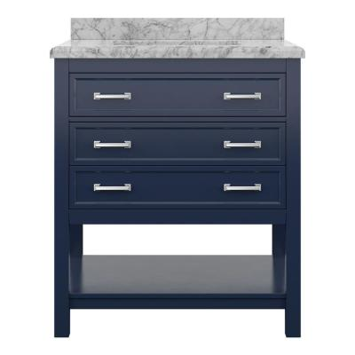 Everett 31 in. W x 22 in. D Vanity Cabinet in Aegean Blue with Carrara Marble Vanity Top in White with White Basin