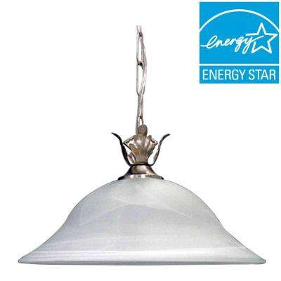 Lenor 1-Light Brushed Nickel Incandescent Ceiling Semi-Flush Mount Light