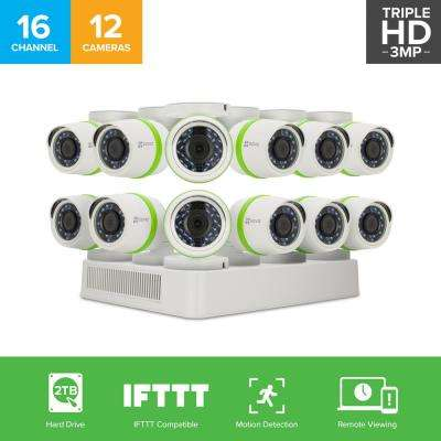 Security Camera System 12 HD 16-Channel 1080 TVL Cameras 2TB and Up HDD Surveillance Systems 100 ft. Night Vision