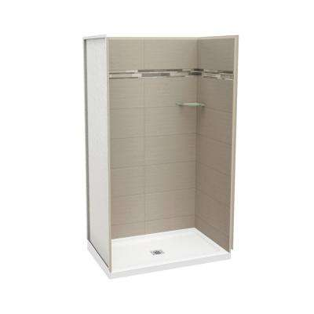 Utile Origin 32 in. x 48 in. x 83.5 in. Alcove Shower Stall in Greige with Center Drain Base in White