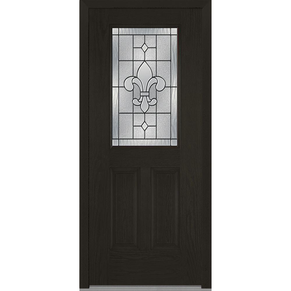 32 in. x 80 in. Carrollton Left-Hand Inswing 1/2-Lite Decorative 2-Panel