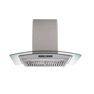 30 in. Wall-Mounted Range Hood in Stainless Steel with Tempered Glass and Baffle Filters
