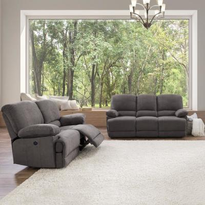 2pc Plush Power Reclining Grey Chenille Fabric Sofa Set with USB Ports