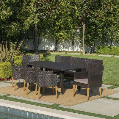 Carlton Multi-Brown 9-Piece Wicker Outdoor Dining Set with Mocha Cushions