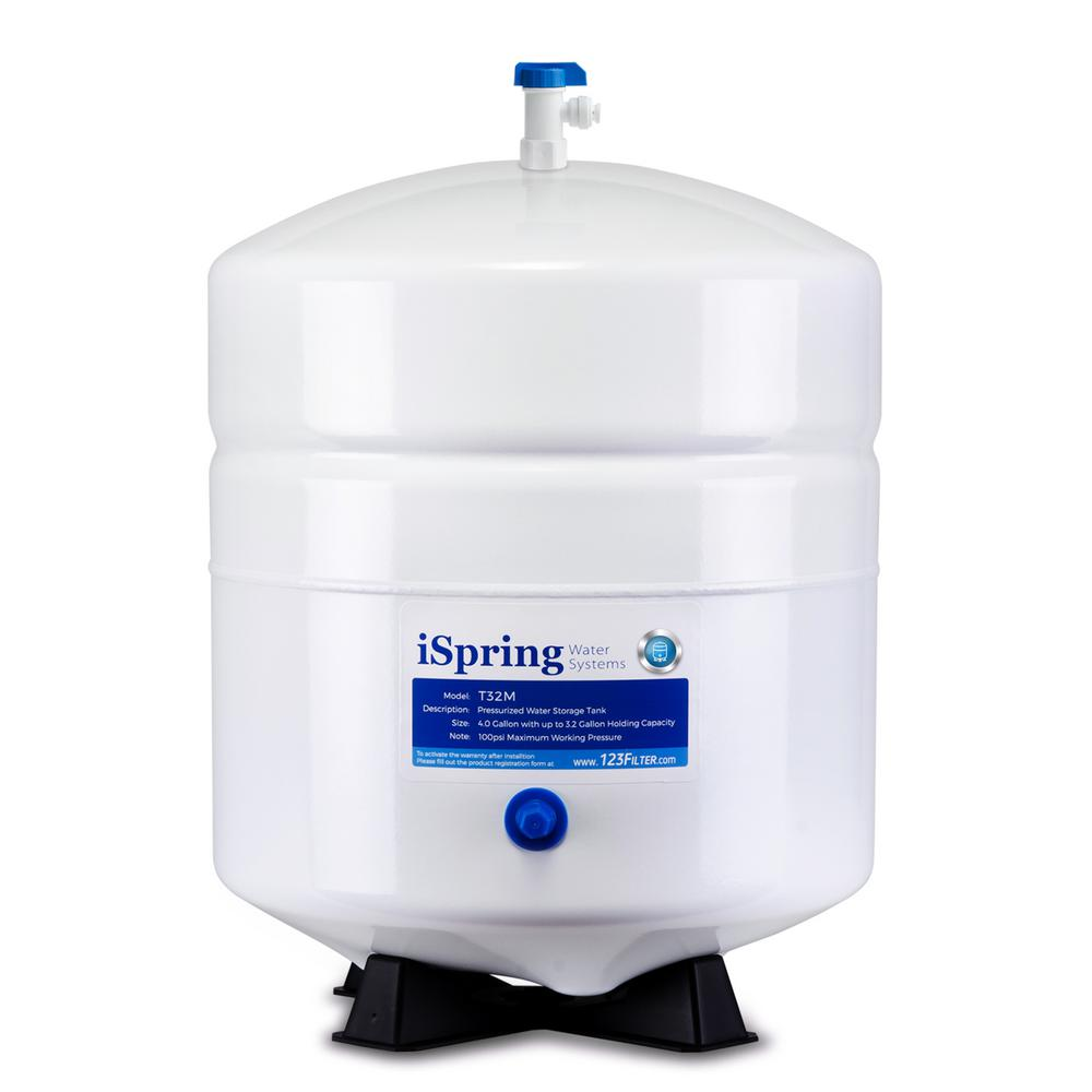 ISPRING 3.2 Gal. Metal Pressurized Reverse Osmosis Water Storage Tank with Ball Valve