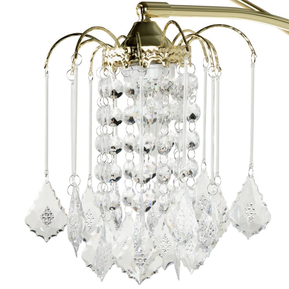 Modern Polished Chrome /& Clear Curved Acrylic Crystal Jewel Design Floor Lamp