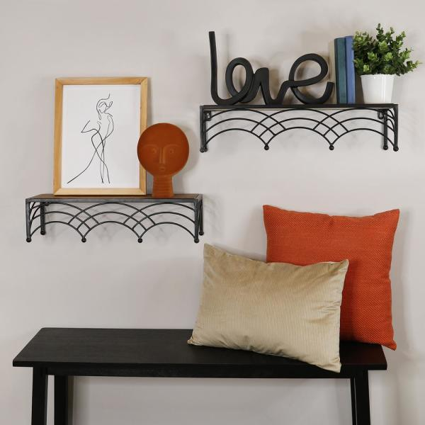 Stratton Home Decor Wooden Art Deco Arch Shelves Set Of 2 S30865 The Home Depot