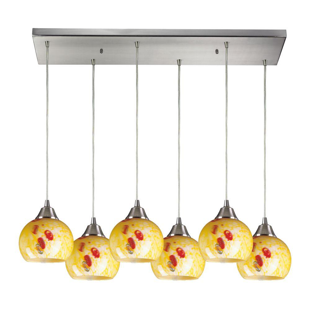 Titan Lighting Mela 6-Light Satin Nickel Ceiling Mount Pendant