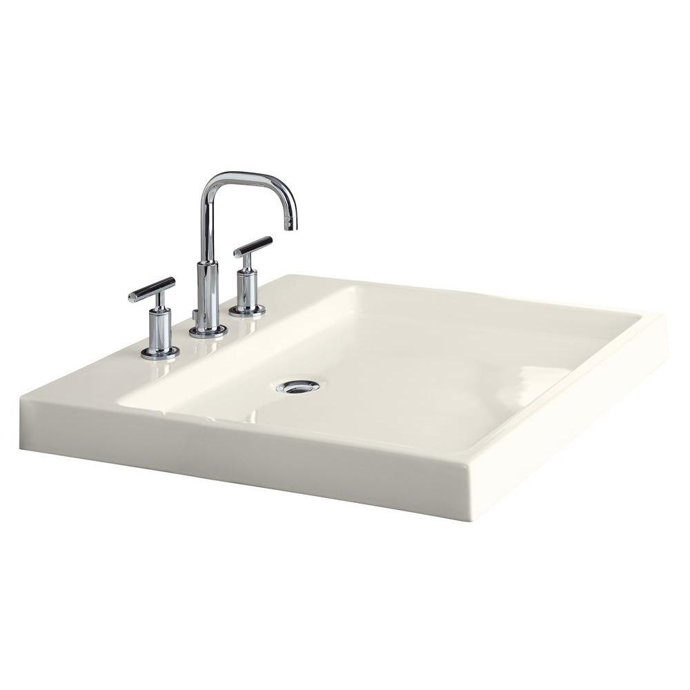 KOHLER Purist Wading Pool Ceramic Vessel Sink in Biscuit