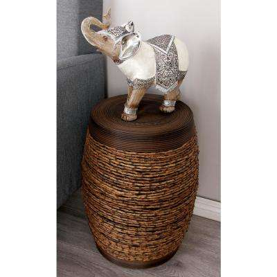 19 in. Brown Contemporary Tribal Rattan Drum Stool