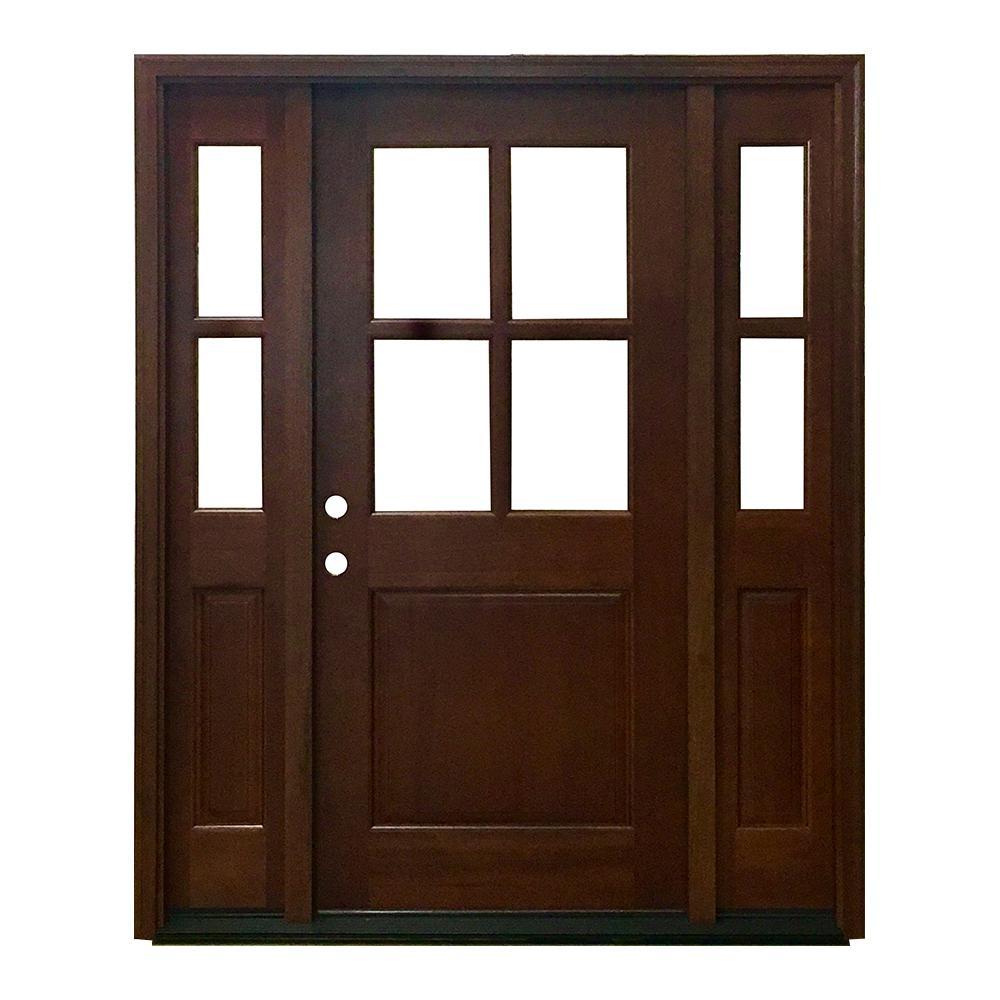 Medium Brown Wood Exterior Prehung Wood Doors Front Doors