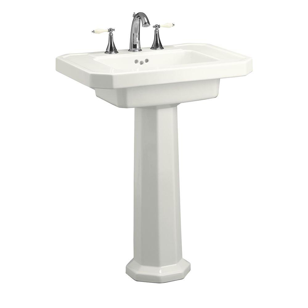 KOHLER Kathryn Ceramic Pedestal Combo Bathroom Sink In White With Overflow  Drain