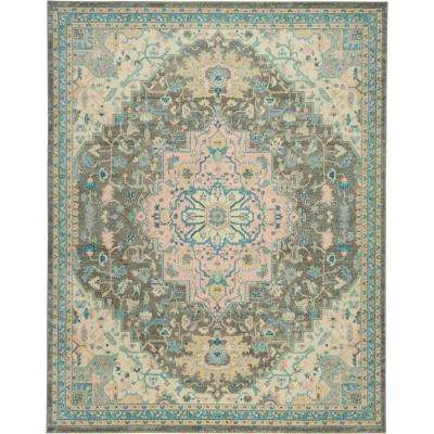Tranquil TRA07 Pink and Grey 9 ft. x 12 ft. Oversized Area Rug