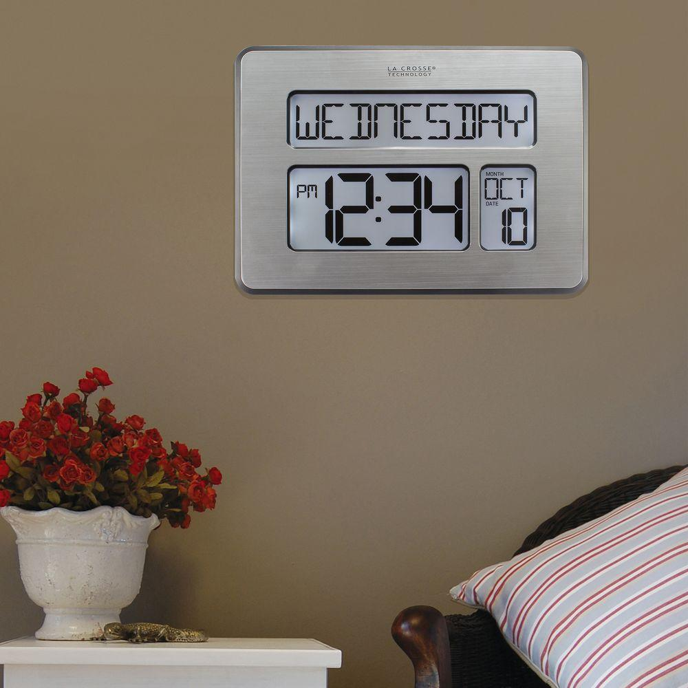 Atomic clock wall clocks wall decor the home depot atomic full calendar digital clock with extra large digits perfect gift for the elderly amipublicfo Gallery
