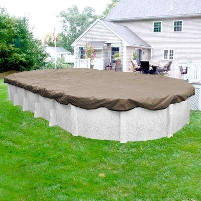 Superior 18 ft. x 33 ft. Pool Size Oval Sand Solid Above Ground Winter Pool Cover