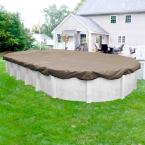 Superior 18 ft. x 33 ft. Oval Sand Solid Above Ground Winter Pool Cover