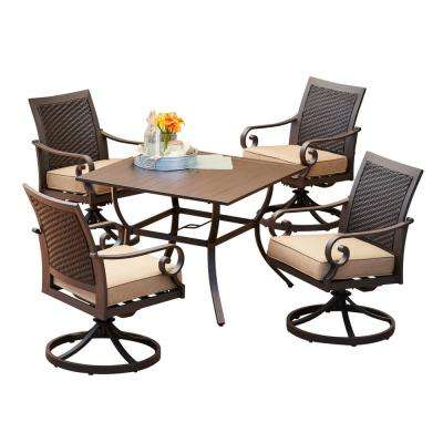 Milano 5-Piece Swivel Outdoor Dining Set with Tan Cushions