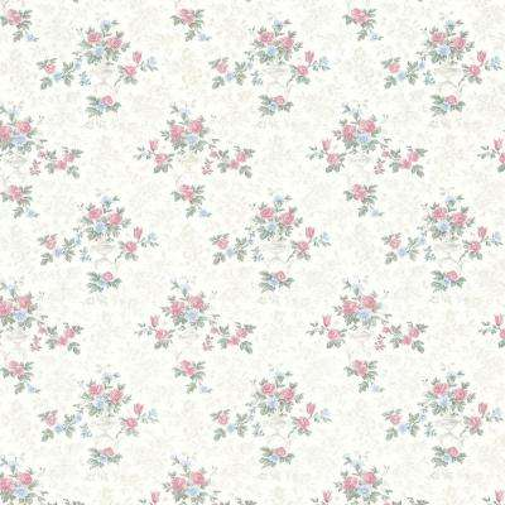 Kezea White Petit Floral Urn Wallpaper Sample