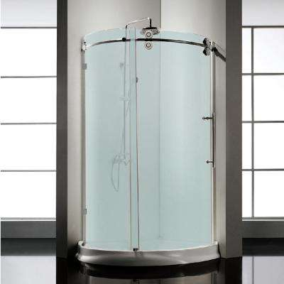 42.5 in. x 42.5 in. x 79 in. Frameless Sliding Frosted Glass Shower Door Enclosure in Chrome with Handle