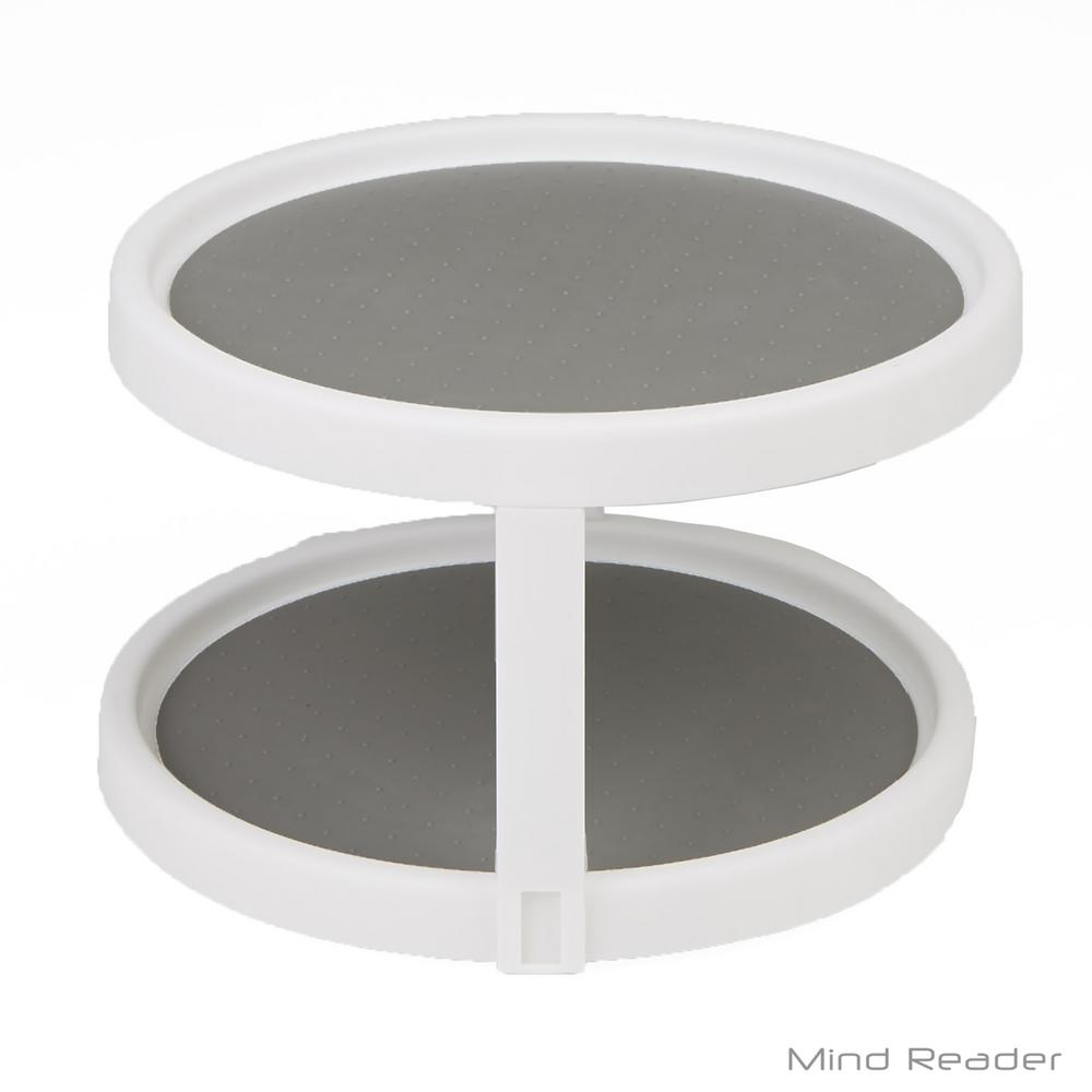 Mind Reader 2-Shelf 9.8 in. Dia White Round Lazy Susan Turntable Kitchen  Organizer