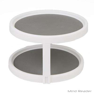 2-Shelf 9.8 in. Dia White Round Lazy Susan Turntable Kitchen Organizer