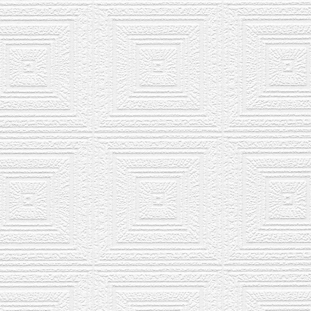 Norwall Norwall Aztec Panels Paintable Wallpaper, White